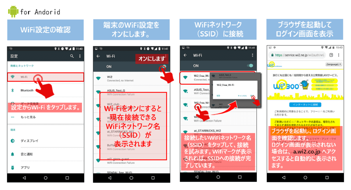 Wi-Fi接続android